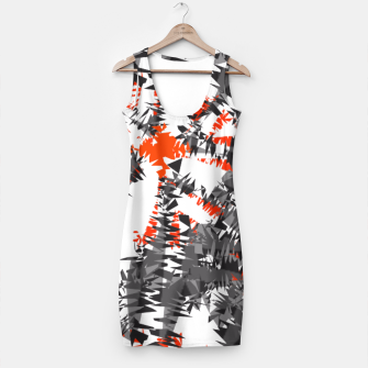 Thumbnail image of Orange Grey Mix Ikat Abstract Print Simple Dress, Live Heroes