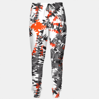Orange Grey Mix Ikat Abstract Print Sweatpants thumbnail image