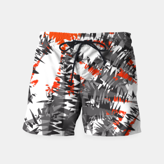 Orange Grey Mix Ikat Abstract Print Swim Shorts thumbnail image