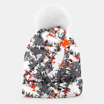 Orange Grey Mix Ikat Abstract Print Beanie thumbnail image