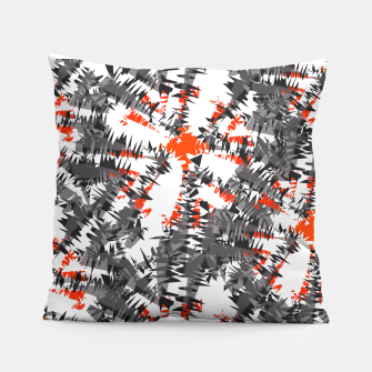 Orange Grey Mix Ikat Abstract Print Pillow thumbnail image