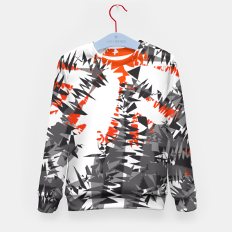 Orange Grey Mix Ikat Abstract Print Kid's Sweater thumbnail image