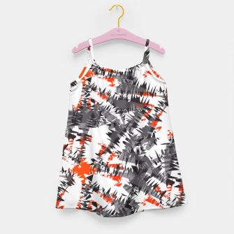 Orange Grey Mix Ikat Abstract Print Girl's Dress thumbnail image