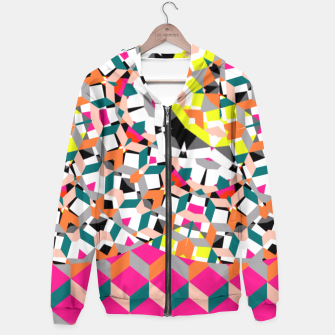 Thumbnail image of Geometric Spliced Pattern Mix Hoodie, Live Heroes