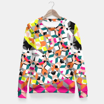 Thumbnail image of Geometric Spliced Pattern Mix Fitted Waist Sweater, Live Heroes