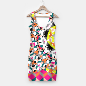 Thumbnail image of Geometric Spliced Pattern Mix Simple Dress, Live Heroes