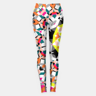 Thumbnail image of Geometric Spliced Pattern Mix Leggings, Live Heroes