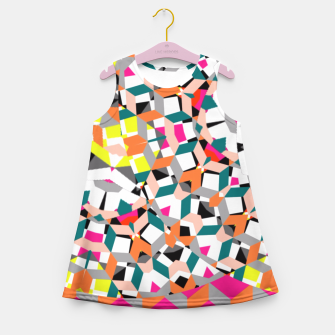 Thumbnail image of Geometric Spliced Pattern Mix Girl's Summer Dress, Live Heroes