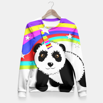 Thumbnail image of Fun Rainbow Fantasy Unicorn Panda Bear Fitted Waist Sweater, Live Heroes