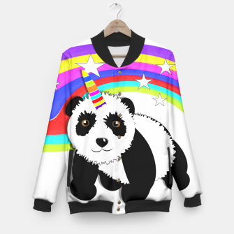 Thumbnail image of Fun Rainbow Fantasy Unicorn Panda Bear Baseball Jacket, Live Heroes