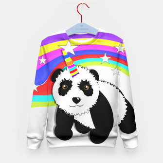 Thumbnail image of Fun Rainbow Fantasy Unicorn Panda Bear Kid's Sweater, Live Heroes