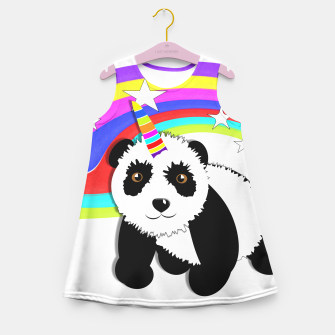 Thumbnail image of Fun Rainbow Fantasy Unicorn Panda Bear Girl's Summer Dress, Live Heroes