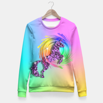 Thumbnail image of Ombre Rainbow Fantasy Unicorn Fitted Waist Sweater, Live Heroes