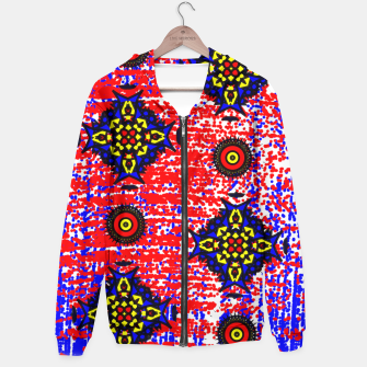 Thumbnail image of Bold Fancy Blue Red Mix Pattern Hoodie, Live Heroes