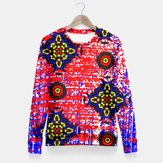 Thumbnail image of Bold Fancy Blue Red Mix Pattern Fitted Waist Sweater, Live Heroes