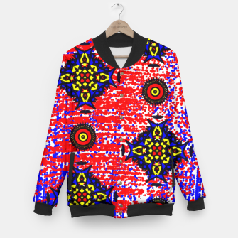Thumbnail image of Bold Fancy Blue Red Mix Pattern Baseball Jacket, Live Heroes