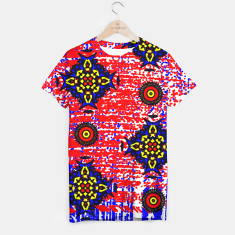 Thumbnail image of Bold Fancy Blue Red Mix Pattern T-shirt, Live Heroes