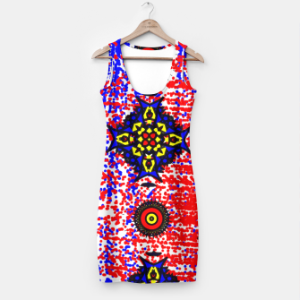 Thumbnail image of Bold Fancy Blue Red Mix Pattern Simple Dress, Live Heroes