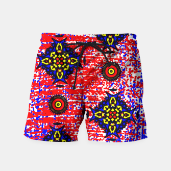 Thumbnail image of Bold Fancy Blue Red Mix Pattern Swim Shorts, Live Heroes