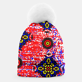 Thumbnail image of Bold Fancy Blue Red Mix Pattern Beanie, Live Heroes