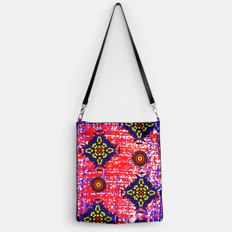 Thumbnail image of Bold Fancy Blue Red Mix Pattern Handbag, Live Heroes