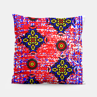 Thumbnail image of Bold Fancy Blue Red Mix Pattern Pillow, Live Heroes