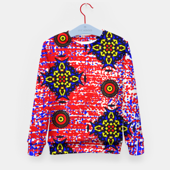 Thumbnail image of Bold Fancy Blue Red Mix Pattern Kid's Sweater, Live Heroes