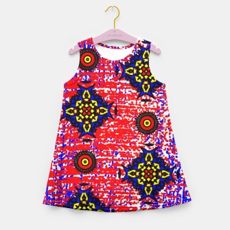 Thumbnail image of Bold Fancy Blue Red Mix Pattern Girl's Summer Dress, Live Heroes
