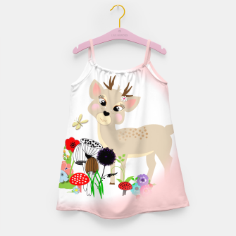 Thumbnail image of Cute Baby Deer Kids Whimsy Animals Girl's Dress, Live Heroes