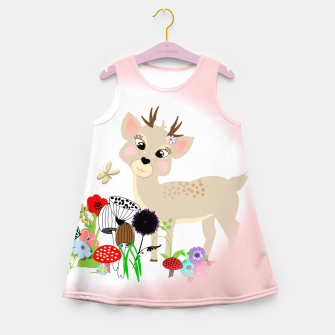 Thumbnail image of Cute Baby Deer Kids Whimsy Animals Girl's Summer Dress, Live Heroes