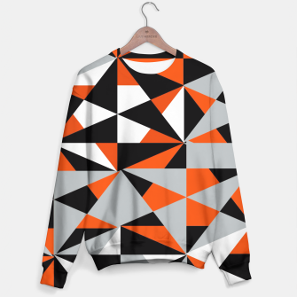 Thumbnail image of Funky Geometric Orange Grey Mixed Print Sweater, Live Heroes