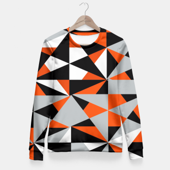 Thumbnail image of Funky Geometric Orange Grey Mixed Print Fitted Waist Sweater, Live Heroes