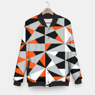 Thumbnail image of Funky Geometric Orange Grey Mixed Print Baseball Jacket, Live Heroes