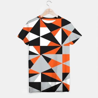 Thumbnail image of Funky Geometric Orange Grey Mixed Print T-shirt, Live Heroes