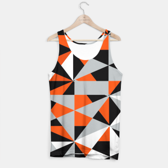 Thumbnail image of Funky Geometric Orange Grey Mixed Print Tank Top, Live Heroes