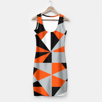 Thumbnail image of Funky Geometric Orange Grey Mixed Print Simple Dress, Live Heroes
