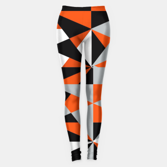Thumbnail image of Funky Geometric Orange Grey Mixed Print Leggings, Live Heroes