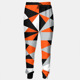 Thumbnail image of Funky Geometric Orange Grey Mixed Print Sweatpants, Live Heroes