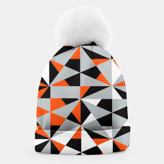 Thumbnail image of Funky Geometric Orange Grey Mixed Print Beanie, Live Heroes