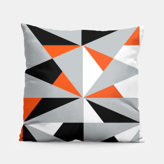 Thumbnail image of Funky Geometric Orange Grey Mixed Print Pillow, Live Heroes