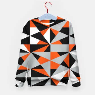 Thumbnail image of Funky Geometric Orange Grey Mixed Print Kid's Sweater, Live Heroes