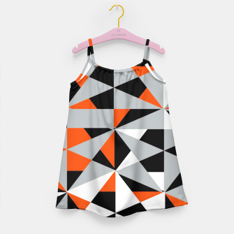 Thumbnail image of Funky Geometric Orange Grey Mixed Print Girl's Dress, Live Heroes