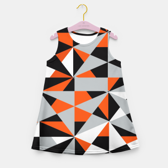 Thumbnail image of Funky Geometric Orange Grey Mixed Print Girl's Summer Dress, Live Heroes