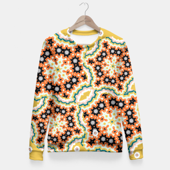 Thumbnail image of Stylish Floral Patterned Olive Green Orange Mix Fitted Waist Sweater, Live Heroes