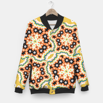 Thumbnail image of Stylish Floral Patterned Olive Green Orange Mix Baseball Jacket, Live Heroes