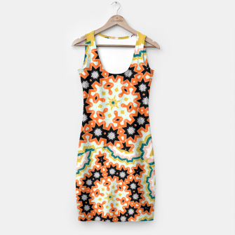 Thumbnail image of Stylish Floral Patterned Olive Green Orange Mix Simple Dress, Live Heroes