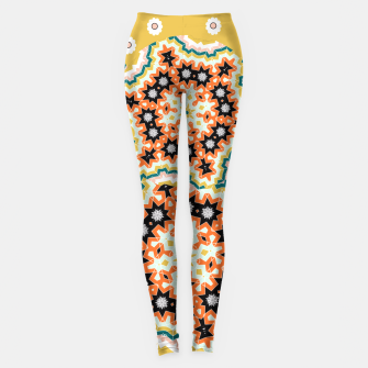 Thumbnail image of Stylish Floral Patterned Olive Green Orange Mix Leggings, Live Heroes