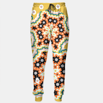 Thumbnail image of Stylish Floral Patterned Olive Green Orange Mix Sweatpants, Live Heroes