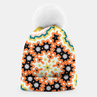 Thumbnail image of Stylish Floral Patterned Olive Green Orange Mix Beanie, Live Heroes
