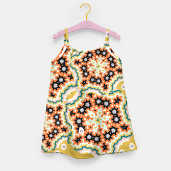 Thumbnail image of Stylish Floral Patterned Olive Green Orange Mix Girl's Dress, Live Heroes
